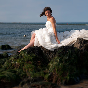 Love on the rocks by Julie Wetherell - Wedding Bride ( bouquet, wedding, in the water, sea, wedding dress, bride, on the beach )