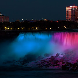Niagara Falls at Night by Sandra Hilton Wagner - Landscapes Waterscapes ( skyline, waterfalls, landscape, light, nightscape )