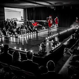 30s Hangar Fashion Show by Florin Marksteiner - People Fashion ( lights, hangar, black and white, fashion show, 30s, fashion photography, stage, planes, roaring )
