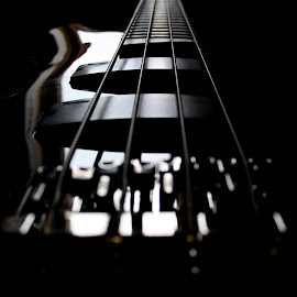The Sound Of Silence by Christian Windisch - Artistic Objects Other Objects ( bass, string, white, guitar, close up, black,  )