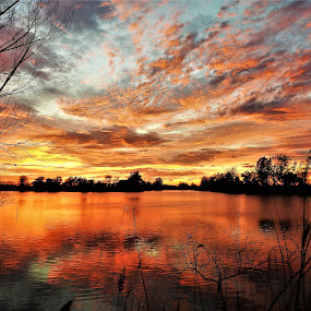 Popcorn Sky by Kathy Woods Booth - Landscapes Sunsets & Sunrises ( sky, calmness, waterscape, serene, sunset, reflections, dusk )