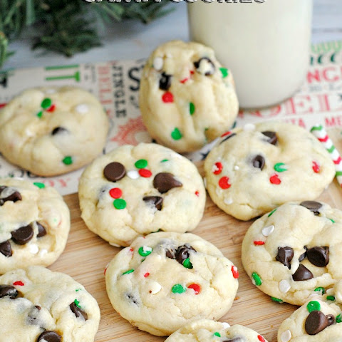 Cake Mix Chocolate Chip Santa Cookies