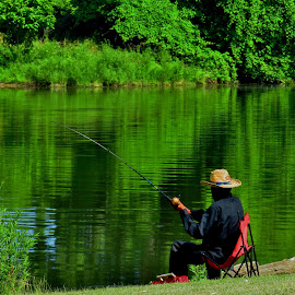 Fishing The Emerald River by Howard Sharper - Sports & Fitness Other Sports ( greenery, reflections, fishing, riverside, emerald )