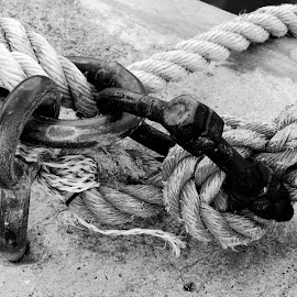 Waiting to sail again by Hendriette Reyneke - Black & White Objects & Still Life