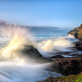 fishing the wave by Bigg Shangkhala - Landscapes Waterscapes