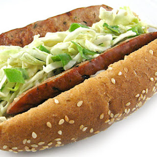 Crunchy Low Fat Sausages Topped With Homemade Skinny Honey Mustard Coleslaw