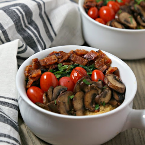 Savory Oatmeal with Bacon, Spinach and Blistered Tomatoes