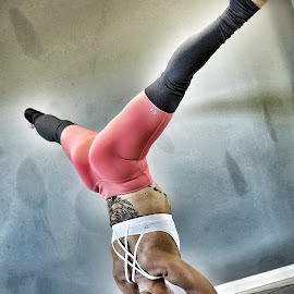 Hard Landing by Ben Rohleder - Sports & Fitness Fitness ( excercise, girl, headstand, fitness, splits, yoga )