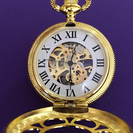 Royal Railroad Watch by Mike DeLong - Artistic Objects Jewelry ( open, purple, kansas city, railroad, gears )
