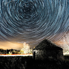 Kažun by Elvis Catela - Landscapes Starscapes ( lights, startrail, stars, kažun, star, night, round, north, starscape, north star, nightscape )