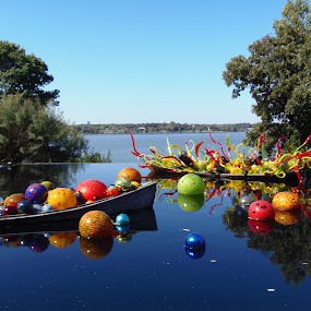 Infinity Pool by Debbie Jones - City,  Street & Park  Vistas ( arboreteum, chihuly, dallas, lake, boat,  )