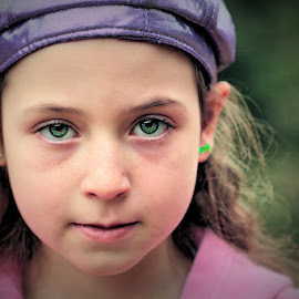 Purple by Sandy Considine - Babies & Children Child Portraits ( green earrings, purple hat, young girl )