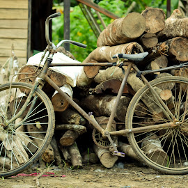 Sepeda Tua by Agus Mahmuda - Artistic Objects Antiques ( old, sepeda, unique, wood, art, antique, bicycle )