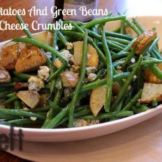 Roasted Potatoes And Green Beans With Bleu Cheese Crumbles