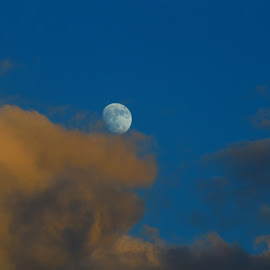 Moon on the roll by Ivy Luna - Landscapes Cloud Formations ( #la luna, #clouds, #more than half moon, #magic of moon, #moon )