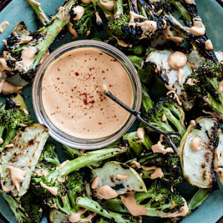 Grilled Broccoli & Kohlrabi Salad with Smokey Cashew Sauce