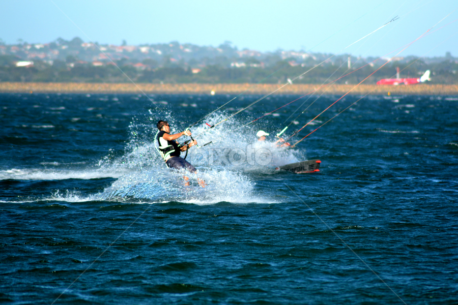 Making Waves by Mark Zouroudis - Sports & Fitness Watersports ( water, splash, waves, kitesurfer, botany bay, board,  )