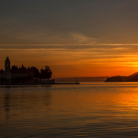 Sunrise in Vis by Mark Per - Landscapes Sunsets & Sunrises ( sunrise, golden hour, island, church, clouds, sun, sea,  )