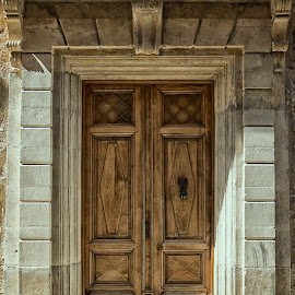 Closed Entry by Johannes Oehl - Buildings & Architecture Architectural Detail ( old, europe, wood, languedoc-roussillon, stone, door )