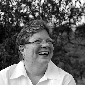 Joy Through Cancer by Michelle Baity - People Portraits of Women ( blackandwhite, person, laugh, woman, bw, smile, people, portrait )
