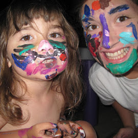 painted smiles by Sandy Lindley - People Body Art/Tattoos ( faces, colorful, people, body paint )