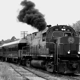 Smoking ALCO by Rick Covert - Transportation Trains ( passenger, black and white, locomotive, smoke, arkansas )