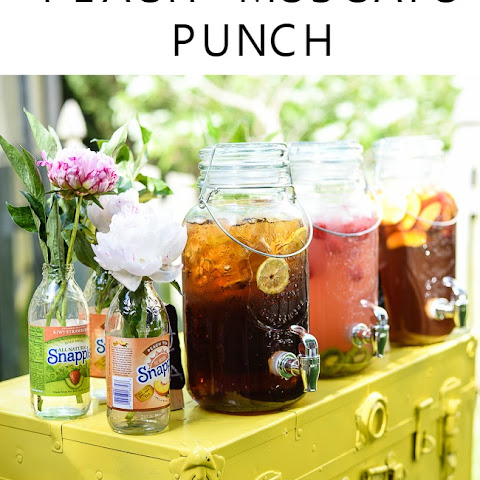 Party Drink Station with Peach Moscato Punch