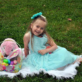 Ready for Easter by Tammy Price - Public Holidays Easter ( child, easter, girl, bunny, green, basket, teal, outside )