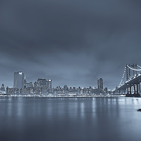 Blue New York by Henry Kurniawan - Landscapes Waterscapes ( moody, long exposure, new york, landscapes, waterscapes, night shot, slow shutter, city )