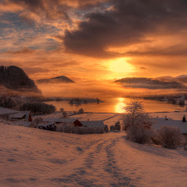 After Snowfall by Rune Askeland - Landscapes Sunsets & Sunrises ( mountains, winter, fog, snow, norge, sunrise, mellingen, norway )