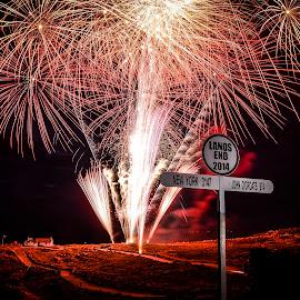 Land's End Fireworks by Sarah Tregear - Public Holidays July 4th ( land's, cornwall, lands, end, fireworks, landscape )