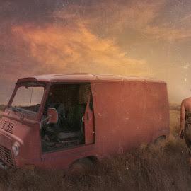 My way by George Leontaras - Digital Art People ( clouds, orange, hellas, sky, girl, volos, greece, fine art, digital, manipulation, photography, photoshop )