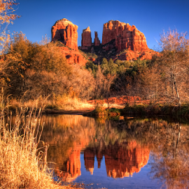 Cathedral Rock by Tom Weisbrook - Landscapes Caves & Formations ( water, landmark, november, red rock crossing, red rock state park, cathedral rock, arizona, 2012, reflections, rock formation, oak creek, sedona )