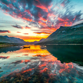 Blood red sunset by Benny Høynes - Landscapes Sunsets & Sunrises ( mountains, colourful, cloudes,  )