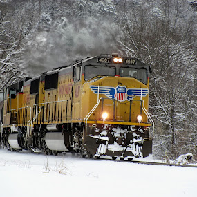 Snow Business by Rick Covert - Transportation Trains ( winter, cold, locomotive, snow, trains )