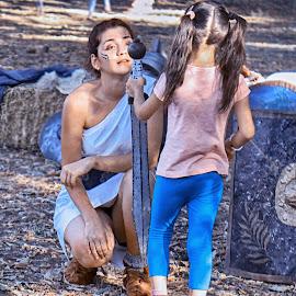 school of amazons by Cornel Gingarasu - People Street & Candids ( real people, girls, life, warriors, emotions, youth, school of amazons, young, people, sword )