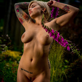 dream garden by Shawn Crowley - Nudes & Boudoir Artistic Nude ( high-speed synchronization, tattoo, foxglove, garden, nude, seattle, female )