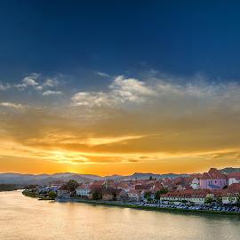 Maribor by Nejc Kostanjšek - City,  Street & Park  Vistas ( sky, sunset, maribor, river, city,  )
