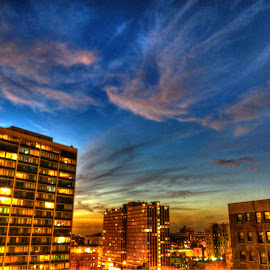 buildings by Fraya Replinger - Buildings & Architecture Office Buildings & Hotels ( clouds, buildings, apartment, night, chicago )