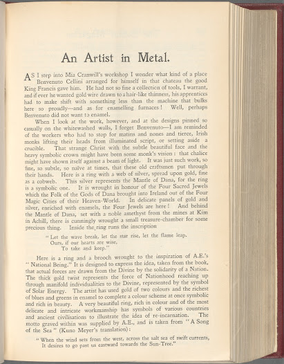 The poet Ella Young here catalogues the workshop of Irish metalworker Mia Cranwill. Young notes that several items were inspired by poems or lines from W.B. Yeats and Æ.