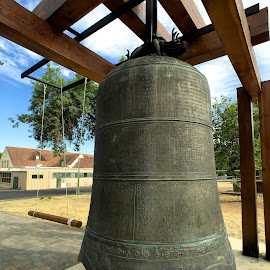 Temple Bell by Jim Downey - Instagram & Mobile iPhone ( bronze bell, ceremonial, moment wide lens, enscribed, temple grounds )