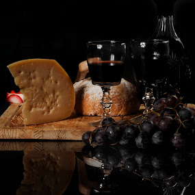 Cheese, bread and wine by Cristobal Garciaferro Rubio - Food & Drink Ingredients ( wine, reflection, grapes, bread, cheese )