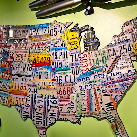 US Map Cartag Sign by David Russ - Artistic Objects Signs