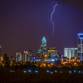 Charlotte Storm by Brian Young - City,  Street & Park  Skylines ( lights, night )