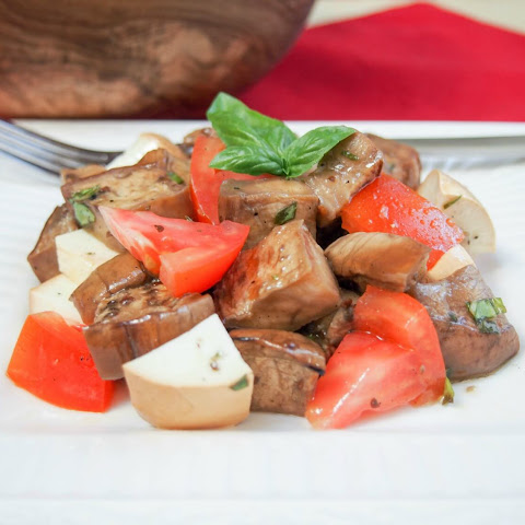 Marinated Eggplant, Tomato And Smoked Mozzarella Salad