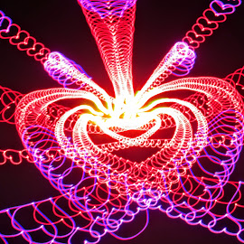 Heart necklace  by Jim Barton - Abstract Patterns ( laser light, heart, colorful, light design, laser design, laser, laser light show, light, necklace, science )