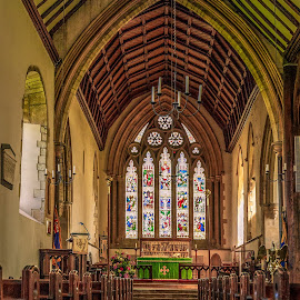 Down The Aisle by Darrell Evans - Buildings & Architecture Places of Worship ( prayer, building, old, arch, church, aisle, stained grass, stone, lectern, holy, architecture, worship, alter, religion, window, column, pray, pews )