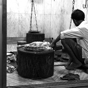 The Butcher by DrArindam Ghosh - People Street & Candids ( street candids, black and white, street, bw, street photography )