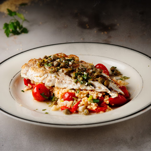 Pan-fried Sea Bass With Salsa Verde & Roasted Tomato Millet