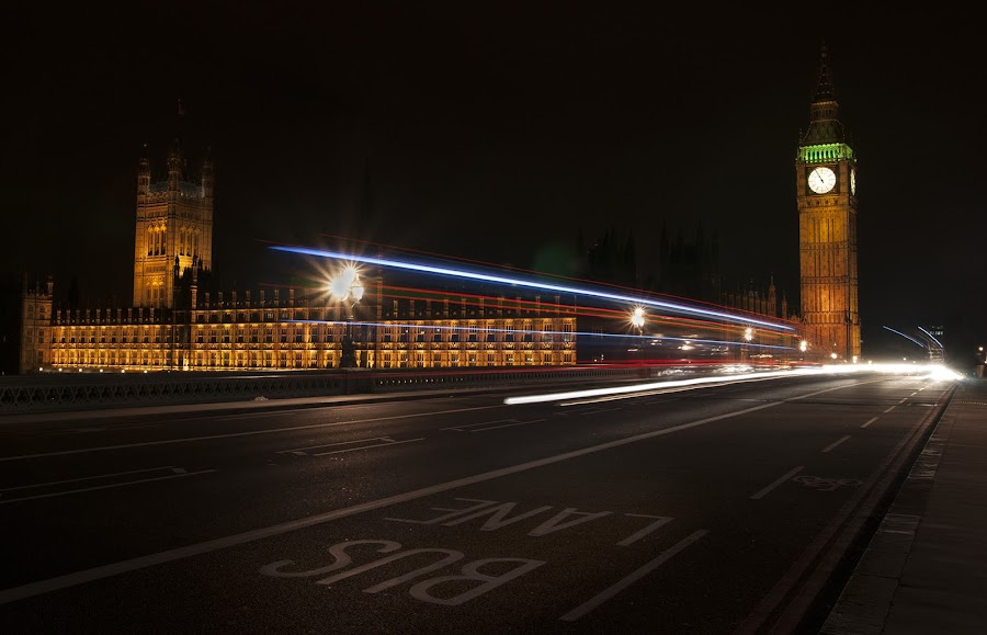 Bus Lane by Buzz Covington - Buildings & Architecture Public & Historical ( parliament, london, night, big ben, city, lights )
